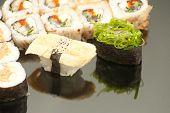 Japanese seafood sushi , roll set closeup