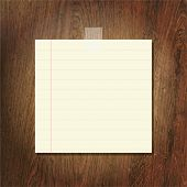 Note Papers On Wooden Background, Vector Illustration