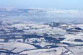 Derbyshire Peak District Winter Aerial.