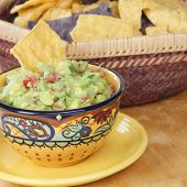 Bowl Of Guacamole Dip With Chips.