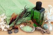 foto of pumice-stone  - Seaweed spa accessories with green bubble bath foam and salt - JPG