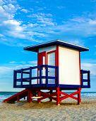 Colorful lifeguard tower at Cocoa Beach, Florida