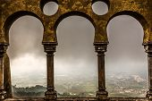 Open Arch Windows In Pena Palace With View On City Of Sintra, Portugal