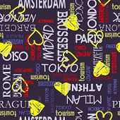 art seamless vector pattern background with love to Moscow, Paris, Milan, Berlin, London, Tokyo, Barcelona, Prague, Brussels, Amsterdam, Havana, Madrid, New York