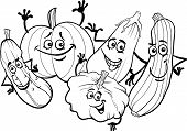 Cucurbit Vegetables For Coloring Book