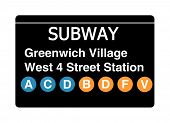 Greenwich Village West 4 Street Station subway sign isolated on white, New York city, U.S.A.