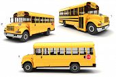 3d school bus on white background