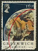 UK - CIRCA 1984: A stamp printed in UK shows image of the View of Earth from Apollo 11. Centenary of