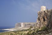 San Vito Lo Capo, Sicily: Saracen tower on the east side coastline cliff
