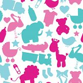 picture of alligator baby  - Bright Seamless Vector Baby Shower Pattern with Silhouettes - JPG