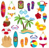 stock photo of tiki  - Vector Collection of Beach and Tropical Themed Images - JPG