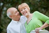 stock photo of button down blouse  - Senior Caucasian couple smiling playfully outside against trees - JPG