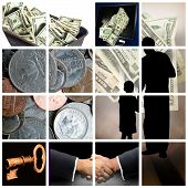 foto of payday  - money theme on a grid - JPG