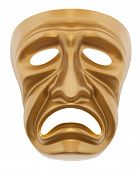 Tragedy theatrical mask isolated on a white background