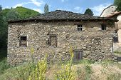 facade of macedonian stone house in Maloviste village Pelister National Park, Republic of Macedonia