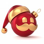Christmas ball avatar New Year bauble Santa Claus hat ornament red gold decoration happy emoticon