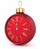Happy New Year alarm clock Christmas ball ornament bauble decoration icon