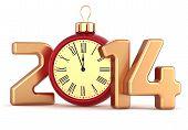 Happy New Year 2014 alarm clock Christmas ball decoration winter holidays ornament