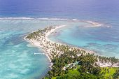 picture of land-mass  - aerial view of the barrier reef of the coast of San Pedro Belize - JPG