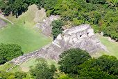 stock photo of atonement  - Aerial view of Xunantunich Mara Ruins in the jungle of Belize - JPG