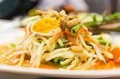 Som Tum, Spicy Papaya Salad With Salted Eggs ,papaya Salad At A Food Stand, Thailand