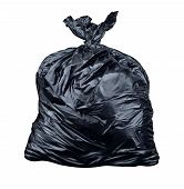 stock photo of smelly  - Garbage bag isolated on a white background as a symbol of waste management and environmental issues as a throw away black plastic sack full of dirty smelly trash and useless junk - JPG