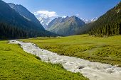 Mountain ridge and rapid river. Tien Shan