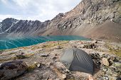 Turist tent at Ala-Kul lake. Tien Shan, Kyrgyzstan
