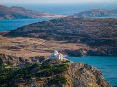 Greek Church Top On A Hill, Near Ocean