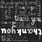 thank you gray black white hand written announce on dark graphic typographic seamless pattern