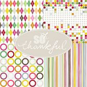 So thankful colorful argyle diamond circles dots stripes seamless pattern set with oval frame