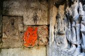 stock photo of lakshmi  - Detail on the wall in Fort Kangra near Kangra city - JPG