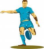 Rugbyspeler uitgevoerd en schoppen de bal