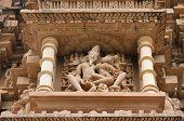 Indian Religious Symbols On Temples In Khajuraho