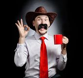 Funny Cowboy With Cup