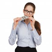 Girl Holding A Hundred Dollar Bill In Her Mouth