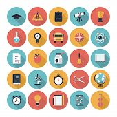 stock photo of atom  - Modern flat icons vector collection with long shadow in stylish colors on high school and colledge education with teaching and learning symbol and object - JPG