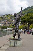 Freddie Mercury Statue On Waterfront Of Geneva Lake, Montreux, S