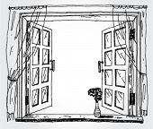 Illustration of opened window