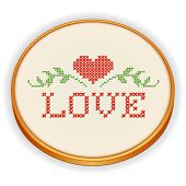Embroidery, Heart And Love In Cross Stitch