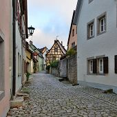 Street Of Town Rotenburg On Tauber In Germany.