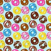 Seamless Vector Pattern Of Assorted Donuts With Different Toppings