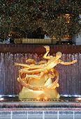 Statue of Prometheus under Rockefeller Center Christmas Tree at the Lower Plaza Rockefeller Center