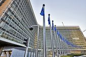 Brussels, Belgium - December 10: The Berlaymont Building Anf Flags On December 10, 2013 In Brussels.