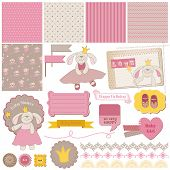 Scrapbook Design Elements - Baby Bunny Girl Set - in vector