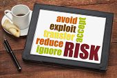 risk management strategies - ignore, accept, avoid, reduce, transfer and exploit - word cloud on a d