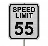stock photo of mph  - A white American road sign with words Speed Limit and 55 isolated over white - JPG
