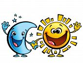 picture of goodnight  - Shining yellow smiling sun and blue moon cartoon characters a happy day night concept image - JPG