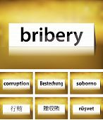 image of bribery  - Illustration of Bribery Concept on white background in seven languages - JPG