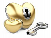 Gold Valentine Heart  With A Keyhole And Key.